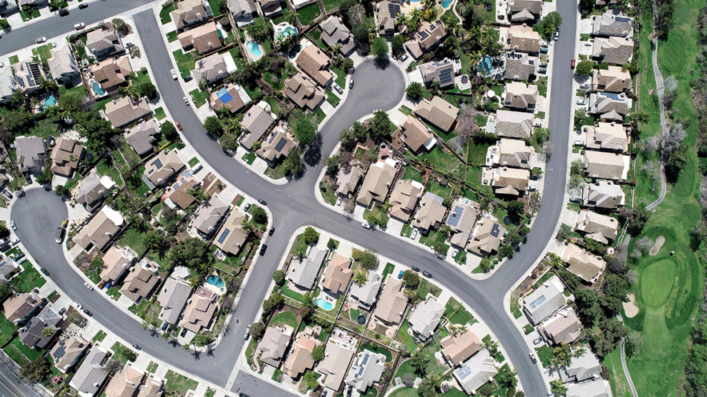 Aerial photograph of residential neighborhood